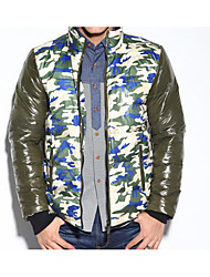 Men's Regular Down Coat,Simple Casual/Daily Camouflage-Polyester White Duck Down Long Sleeve Stand