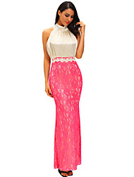 Women's Bow Tie High Neck Silk Lace Fishtail Evening Dress