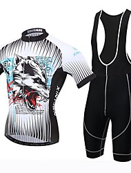 Xintown Men's Breathable Printing Cycling Short Sleeve Jersey and 3D Padded Shorts Set Gray