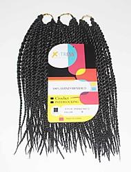 Senegal Twist Braids Black Color 1b Synthetic Hair Braids 12Inch Kanekalon 81 Strands 125g  Multipal Pack for Full Heads