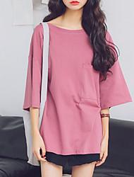 Damen Solide Einfach Lässig/Alltäglich T-shirt,Rundhalsausschnitt Sommer / Herbst ¾-Arm Blau / Rot / Weiß / Schwarz / GelbBaumwolle /