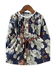 Girl's Cotton Spring/Fall Fashion Casual/Daily Vintage Style Floral Print Long Sleeve Princess Dress Skirt