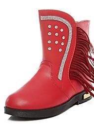 Girl's Boots Fall / Winter Comfort PU Dress / Casual Flat Heel Zipper / Tassel Black / Pink / Red Walking