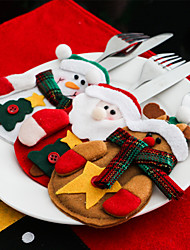 3pcs Xmas Decor Lovely Snowman Kitchen Tableware Holder Pocket Dinner Cutlery Bag Party