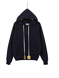 Women's Casual/Daily Simple / Active Regular Hoodies,Solid Blue / White Hooded Long Sleeve Cotton Fall / Winter Medium Stretchy