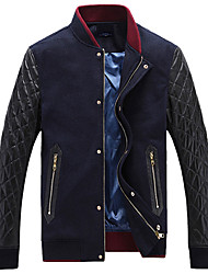 Men's Casual/Daily Simple Jackets,Solid Stand Long Sleeve Fall Blue / Brown Cashmere / Cotton Medium