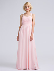 2017 Lanting Bride® Floor-length Chiffon Elegant Bridesmaid Dress - A-line Spaghetti Straps with Bow(s)
