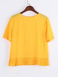 Damen Solide Sexy Lässig/Alltäglich T-shirt,Rundhalsausschnitt Sommer Kurzarm Gelb Polyester Mittel