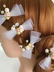 Mulheres Strass Liga Acrilíco Capacete-Casamento Ocasião Especial Casual Flores Clip para o Cabelo 4 Peças