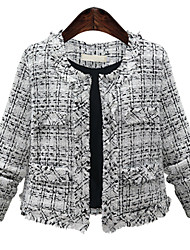 Winter Women Plus Size Coat Round Neck Long Sleeve Plaid Short Jacket Going out/Casual