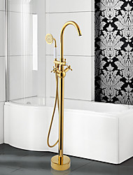 Modern Tub And Shower Widespread / Floor Standing / Pullout Spray with  Ceramic Valve Two Handles One Hole