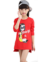 Girl's Casual/Daily Print TeeCotton / Spandex Spring / Fall Black / Red