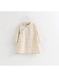 Girl's Casual/Daily Floral BlouseCotton Spring / Fall Blue / Beige