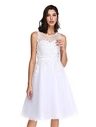 TS Couture® Cocktail Party Dress Ball Gown Jewel Knee-length Tulle with Appliques / Beading