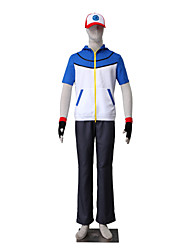 Inspired by Pocket Little Monster Ash Ketchum Anime Cosplay Costumes Cosplay Suits Solid Short Sleeve Top Pants Gloves Hat ForKid's Male