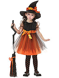 Cosplay Costumes / Party Costume / Masquerade Wizard/Witch Movie Cosplay Black / Orange Solid / Print / Patchwork Dress / CapHalloween /