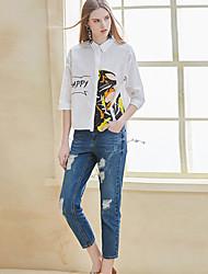 Feminino Moda de Rua Micro-Elástica Jeans Calças Sólido