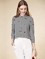 Women's Casual/Daily Simple Fall Shirt,Striped Shirt Collar Long Sleeve Black Cotton Medium