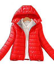 Hot Sale Women's Regular Padded CoatSimple Casual/Daily Solid-Polyester Polyester Long Sleeve Hooded Red / Orange