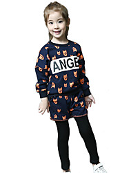 Girl's Cotton Spring/Fall Fashion Casual/Daily Cartoon Print Long Sleeves Sweatshirt And Pants Two-piece Set