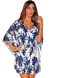 Women's Tropical Print Kimono Sleeve Dress