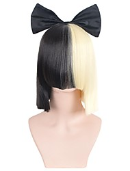Two Tone Black and Golden American Short Straight Neat Bang Halloween Wigs Synthetic Wigs Costume Wigs
