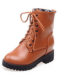 Women's Round Closed Toe Solid Low Top Kitten Heels Boots