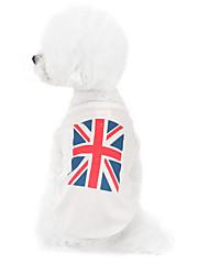 Cães Moletom Branco Roupas para Cães Inverno / Verão / Primavera/Outono Bandeira Nacional Da Moda / Casual
