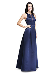 LAN TING BRIDE Floor-length Jewel Bridesmaid Dress - See Through Sleeveless Satin