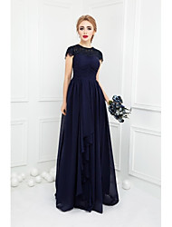 Floor-length Chiffon / Lace Bridesmaid Dress - Ball Gown Jewel with Bow(s) / Lace