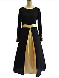 Mousseline de Soie Robe Femme Grandes Tailles Vintage,Mosaïque Col Arrondi Maxi Manches Longues Noir Gris Vert Polyester AutomneTaille