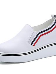 Damen-Loafers & Slip-Ons-Outddor Büro Lässig-Leder-Keilabsatz Plateau-Plateau Komfort-Schwarz Weiß