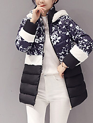 Women's Regular Padded Coat,Vintage / Simple Casual/Daily Print-Polyester Polypropylene Long Sleeve Hooded Multi-color