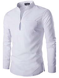 Men's Casual/Daily Simple Spring / Fall ShirtSolid Stand Long Sleeve White / Black Cotton Medium