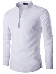 Мужчины На каждый день Весна / Осень Рубашка Воротник-стойка,Простое Однотонный Белый / Черный Длинный рукав,Хлопок,Средняя