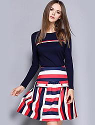 Women's Casual/Daily Street chic Fall Skirt Suits,Striped Round Neck Long Sleeve Blue Polyester