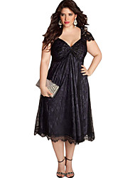 Women's Elegant Lace Embellished Plus Size Dress