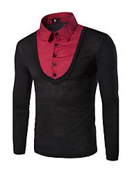 Herren Patchwork Retro Lässig/Alltäglich / Arbeit T-shirt,Hemdkragen Herbst / Winter Langarm Blau / Rot / Schwarz / Grau Baumwolle Mittel