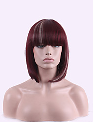 Ombre Short Hair Wigs Halloween Pelucas Pelo Natural Hair Wig Perucas Perruque Synthetic Wine Red /White