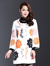 AINIER Women's Casual/Daily Simple CoatJacquard Round Neck Long Sleeve Fall White Wool / Polyester Medium