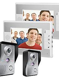 Mountainone 7 pulgadas de video portero de teléfono timbre intercomunicador 2-cámara de 2 monitores de visión nocturna