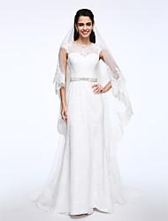 Lanting Bride® Sheath / Column Wedding Dress Sweep / Brush Train Bateau Lace with Button / Sash / Ribbon