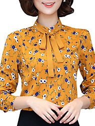 Fall Winter Women's Go out Casual Fashion Wild Print Shirt Collar Long Sleeve Blouse