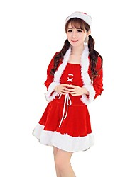 Christmas Costume /Holiday Halloween Costumes Red Solid Skirt / Belt / Hats Christmas Female