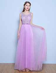 Formal Evening Dress A-line Jewel Floor-length Lace / Satin / Tulle with Beading / Bow(s) / Sash / Ribbon / Sequins