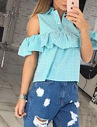 Women's Casual/Daily Cute All Seasons ShirtSolid Cowl Long Sleeve Blue / Pink / Green / Yellow Cotton Medium