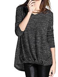 Damen Solide Einfach Lässig/Alltäglich T-shirt,V-Ausschnitt Herbst Langarm Rot / Grau / Lila Baumwolle Undurchsichtig