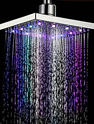 8 Inch Square Multi-color Change LED Rain Shower Head - Silver
