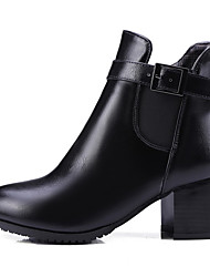 WeenFashion Women's Low-top Zipper Soft Material Kitten-Heels Pointed Closed Toe Boots