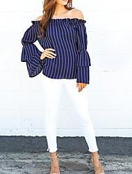 Tee-shirt Femme,Rayé Décontracté / Quotidien simple Automne / Hiver Manches Longues Bateau Bleu Coton Moyen